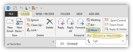 How do I forward an Email as an attachment in outlook?